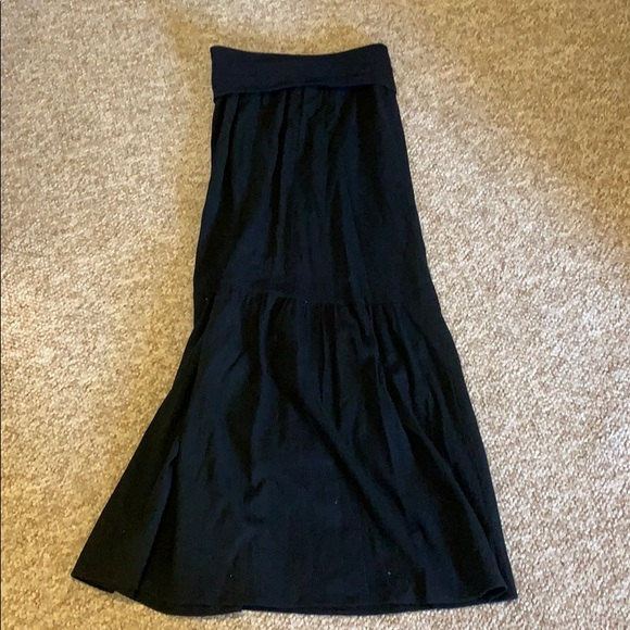 Banana Republic Dresses & Skirts - Black Flowy Linen Maxi Skirt  With Foldover Top